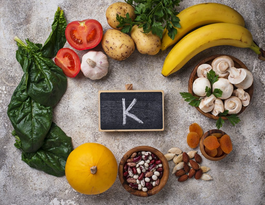 Products containing potassium. Healthy food concept